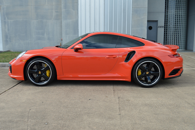 2017 Porsche 911 Turbo S Lava Orange / Espresso